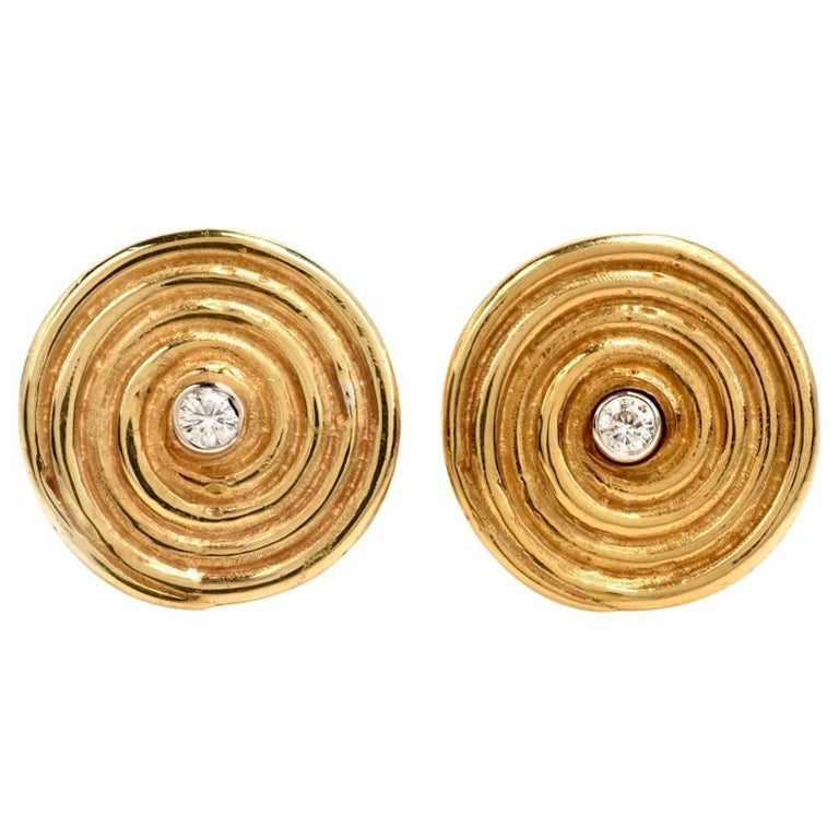 Diamond Yellow Gold Disk Motif Clip-Back Stud Earrings