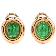 Cabochon Emerald 14 Karat Gold Oval Stud Earrings