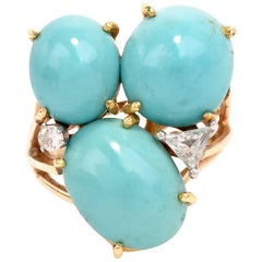 1960s Persian Cabochon Turquoise Diamond Yellow Gold Ring