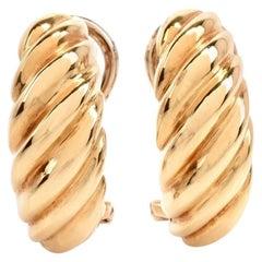 1980s Crescent Shape Clip-Back Shrimp Yellow Italian Gold Earrings