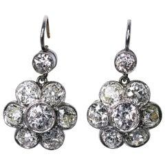 Early 20th Century Diamond Florette Pendant Earrings