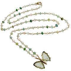 Pastel Tourmaline Soft Green Tourmaline Butterfly Necklace