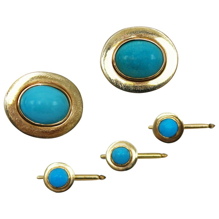 Natural Turquoise and Gold Dress Set For Sale
