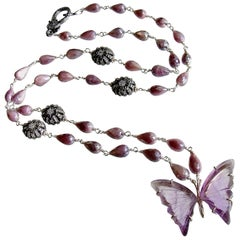 Silverite White Topaz Amethyst Butterfly Necklace