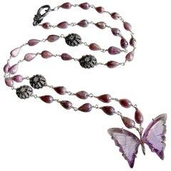 Silverite White Topaz Amethyst Butterfly Necklace