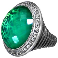 Green Agate Quartz Topaz Oxidized Silver Ring One of a Kind