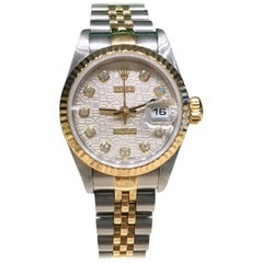 Rolex yellow gold stainless steel Datejust Silver Jubilee Diamond Dial watch
