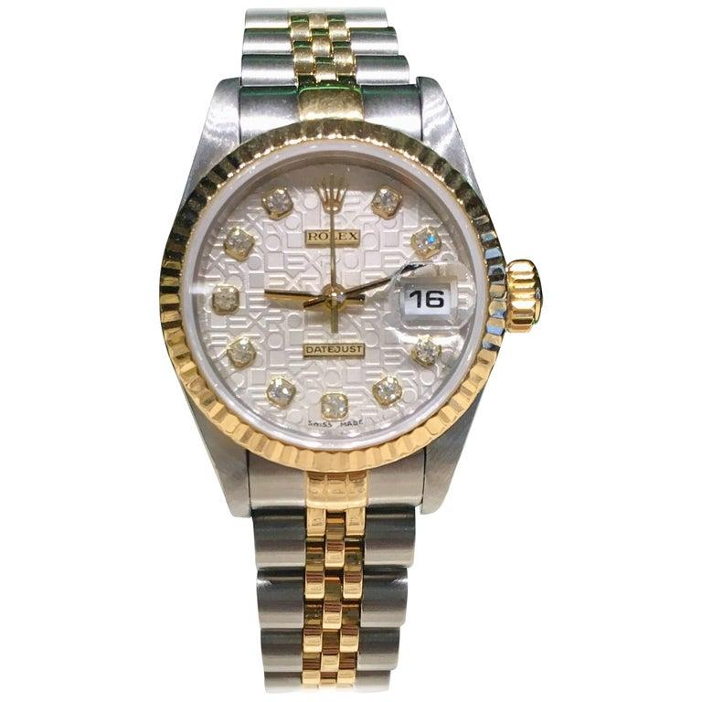 Rolex yellow gold stainless steel Silver Jubilee Diamond Dial wristwatch