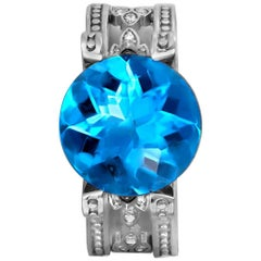 Blue Topaz Diamond Gold Cocktail Ring One of a Kind