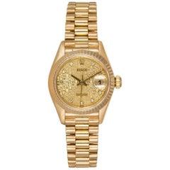 Rolex Ladies Yellow Gold Diamond Dial Datejust President Wristwatch