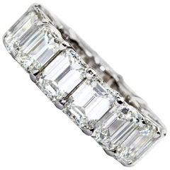 11.00 Carat 15 Diamond Emerald Cut Diamond Eternity Band
