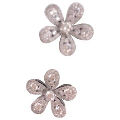 Diamond Cluster Flower Shape Studs Earrings