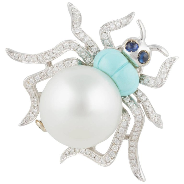 Ella Gafter South Sea Pearl and Diamond Turquoise White Gold Spider Brooch Pin