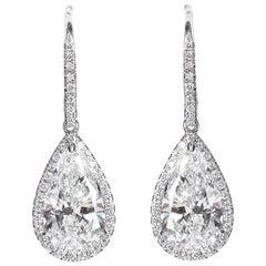 Pear Shape Diamond Drop Pendant Earrings 5.29 Carats