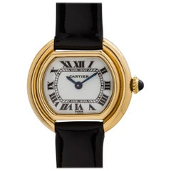 Cartier Ladies Yellow gold Enamel Dial Vendome manual wristwatch, circa 1970s