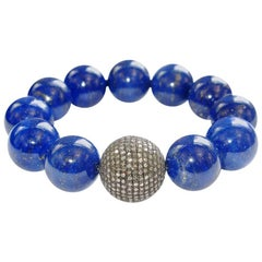 Lapis and Pave Diamond Bead Bracelet