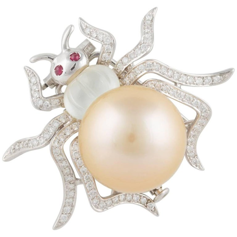 Ella Gafter Golden South Sea Pearl and Diamond White Gold Spider Brooch Pin