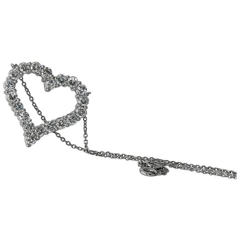 Tiffany & Co. Diamond Heart Pendant, 3.24 Carats Platinum Set