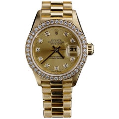 Rolex Ladies Yellow Gold President Diamond Bezel and Dial wristwatch