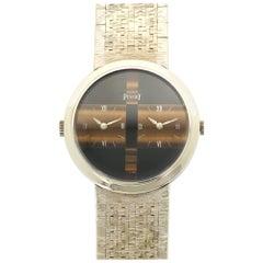 Piaget White Gold Dual Timezone Tiger's Eye Bracelet Wristwatch