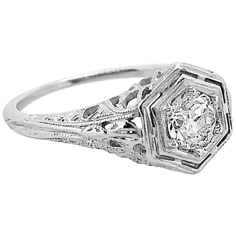 Antique Engagement Rings For Sale: Antique .50 Carat Diamond 18 Karat White Gold Engagement