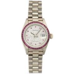 Rolex Ladies White Gold Diamond Ruby Pink Sapphire Datejust Wristwatch Ref 69119