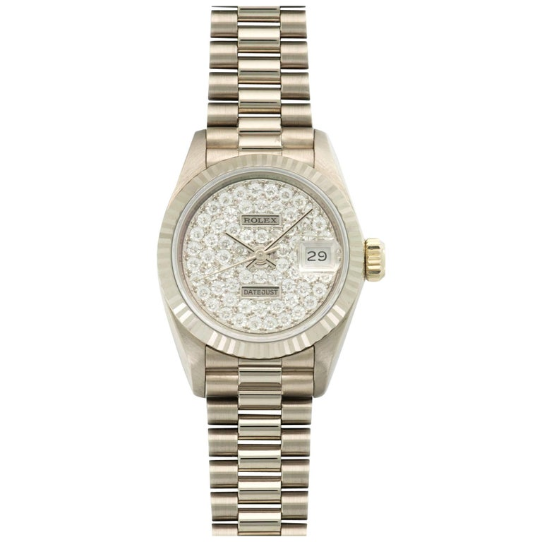 Rolex Ladies White Gold Pave Diamond Datejust Extra Large Wristwatch Ref. 69179