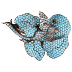 Antique Georgian Turquoise Pearl Bee Brooch, circa 1830