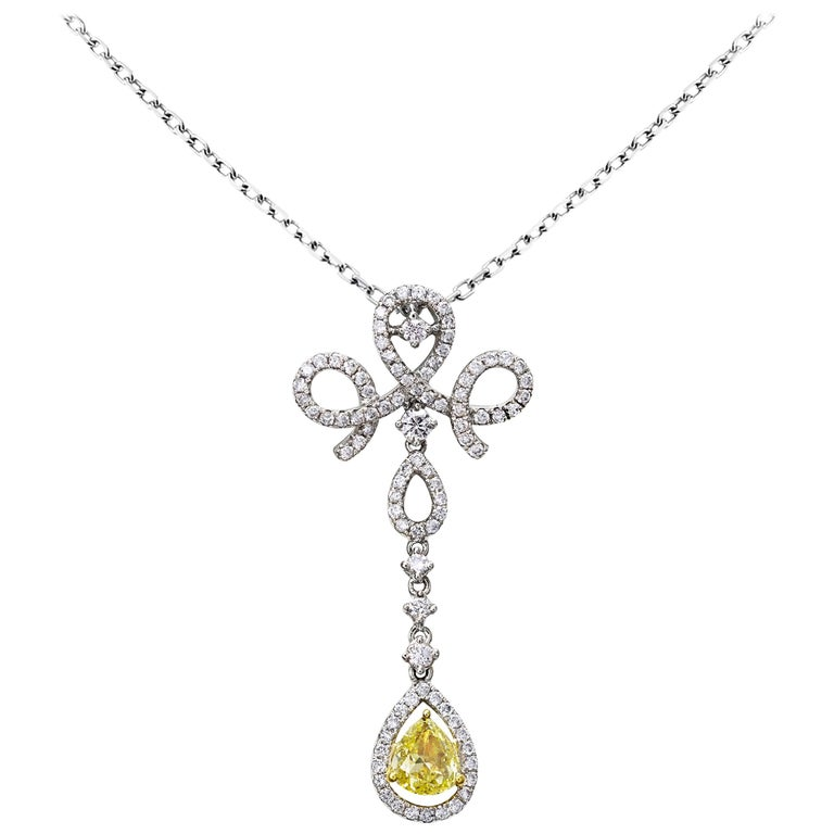 Fancy Yellow and White Diamond Gold Drop Necklace For Sale