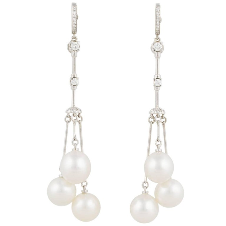 Ella Gafter White South Sea Pearl and Diamond Drop Earrings