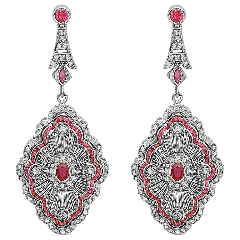 Emilio Jewelry Unique Ruby Diamond Earrings For Sale
