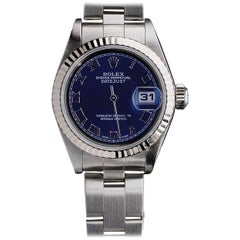 Rolex Stainless Steel Blue Datejust Fluted Bezel Roman Dial Wristwatch 2002