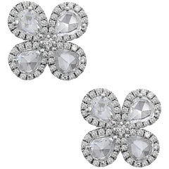 Emilio Jewelry Rose-Cut Diamond Flower Earrings