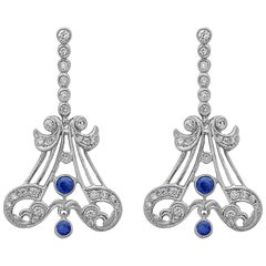 Modern Art Deco Style Emilio Jewelry 3.30 Carat Sapphire  Earrings