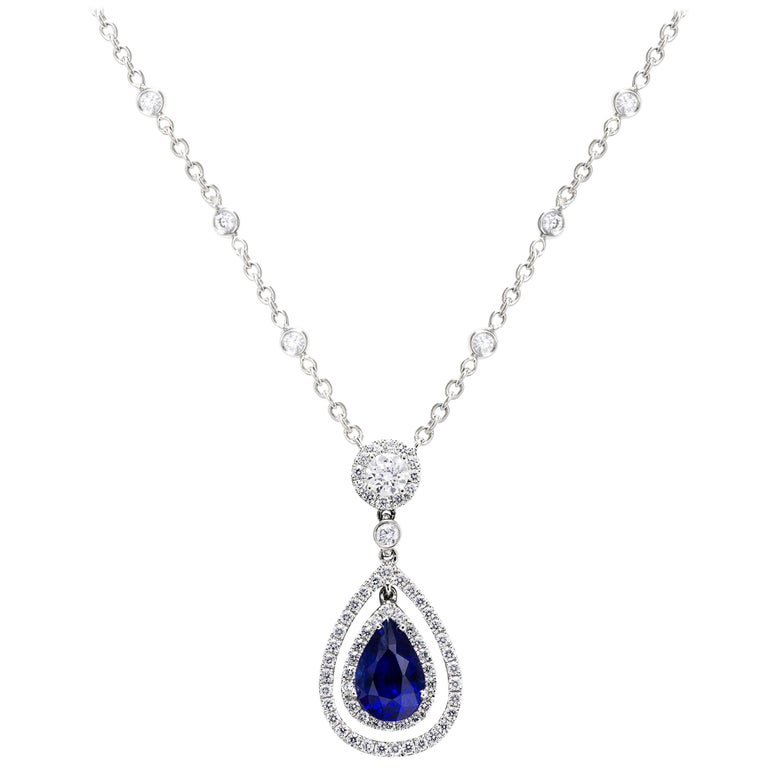 Pear Shape Blue Sapphire and Diamond Halo Drop Necklace