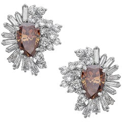 Emilio Jewelry Fancy Deep Orange Brown Diamond Earrings