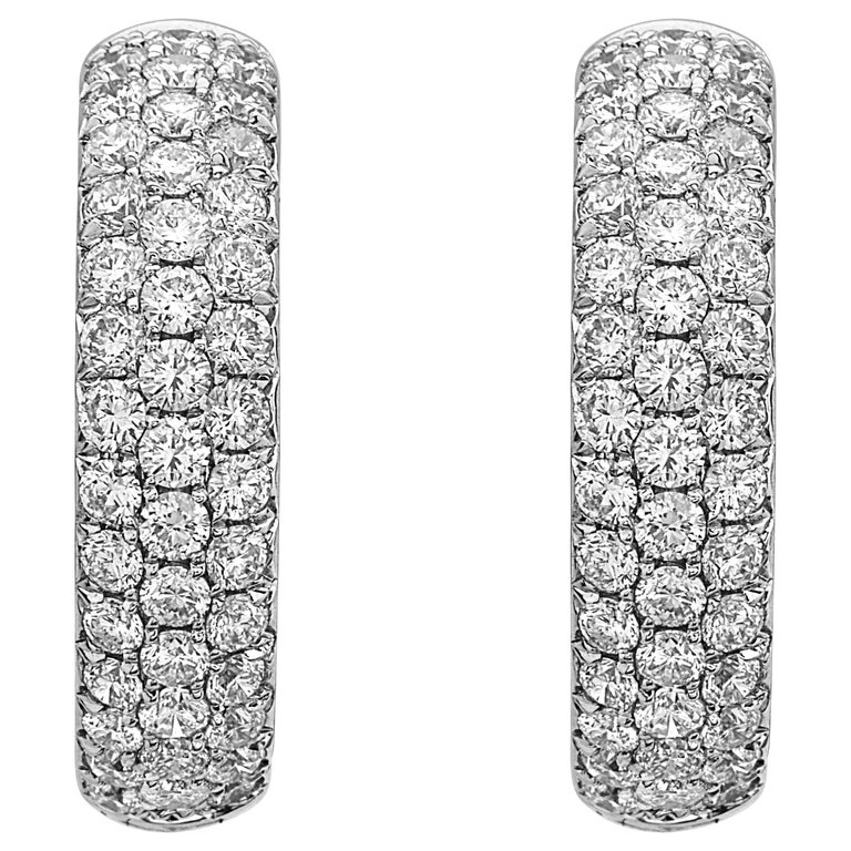 Emilio Jewelry Micro Pave Diamond Hoop Earrings For