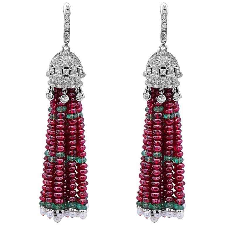 82.74 Carat Ruby Emerald Drop Earrings