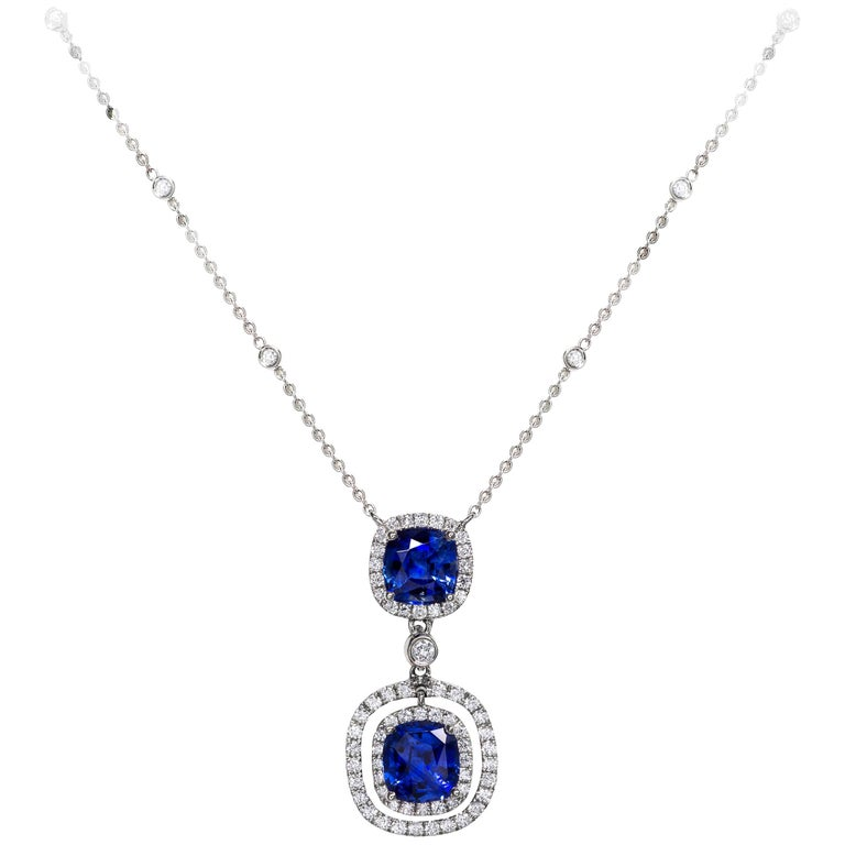 Cushion Cut Blue Sapphire and Diamond Halo Drop Necklace