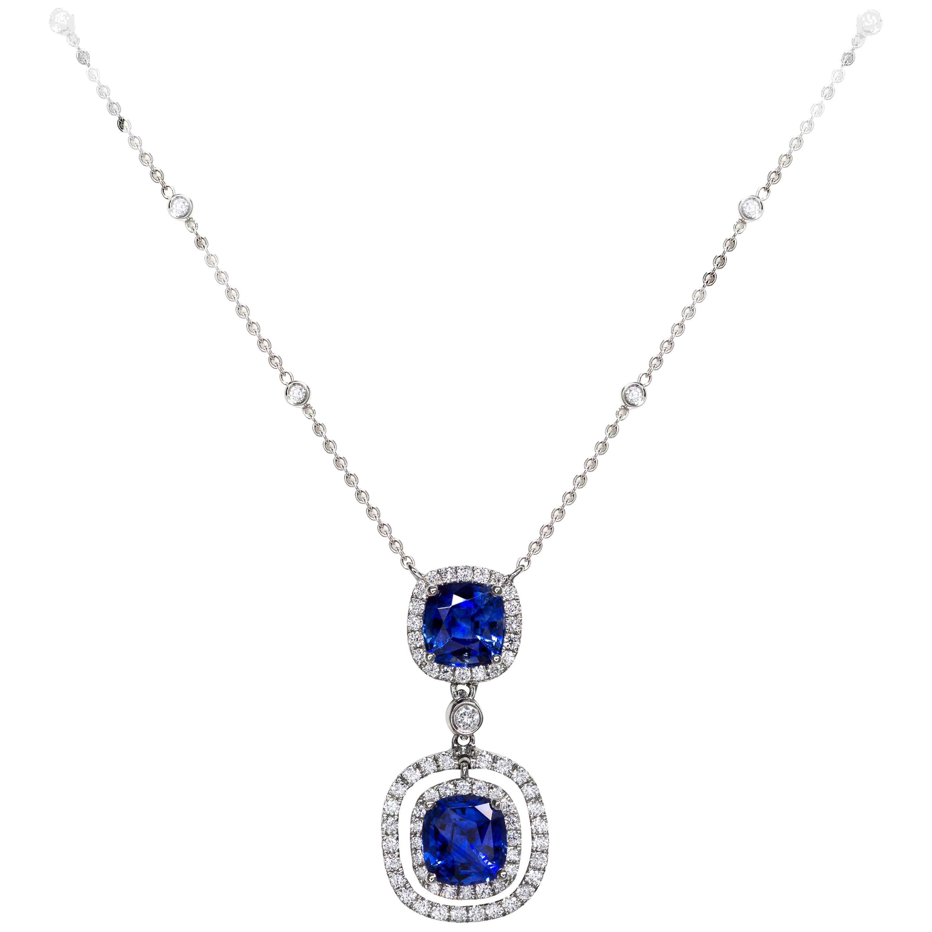 Roman Malakov, Cushion Cut Blue Sapphire and Diamond Halo Drop Necklace