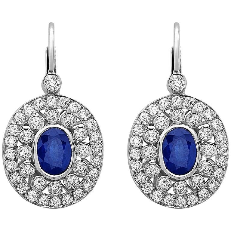 Emilio Jewelry 5.55 Carat Sapphire Diamond Earrings