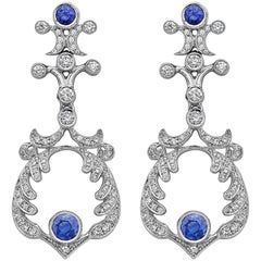 Emilio Jewelry Handmade Diamond Sapphire Earrings