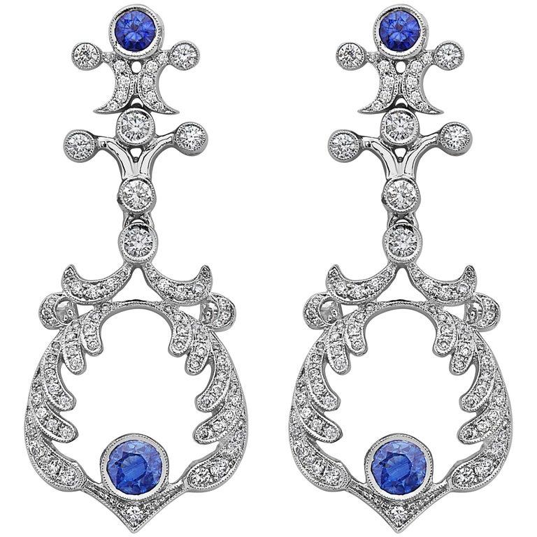Emilio Jewelry Handmade Diamond Sapphire Earrings