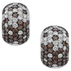 Emilio Jewelry 6.00 Carat Fancy and White Diamond Huggie Earrings