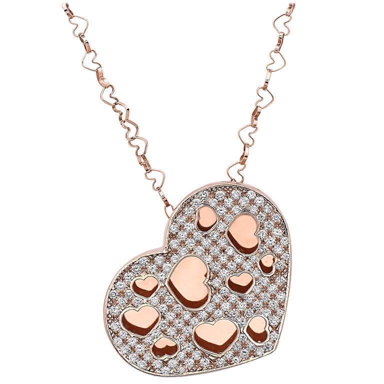 Emilio Jewelry Unique Puffed Diamond Heart Necklace Set in 18 Karat Rose Gold
