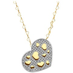 18 Karat Yellow Gold Puffed Diamond Heart Necklace