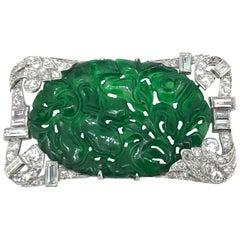 Art Deco Period Natural Jadeite Jade Diamond Brooch Certified Natural
