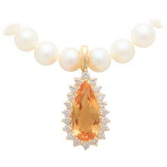 7.60 Carat Pear-Faceted Honey Topaz and Diamond Detachable Enhancer Pendant
