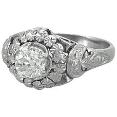 .80 Carat Diamond Antique Engagement Ring Platinum