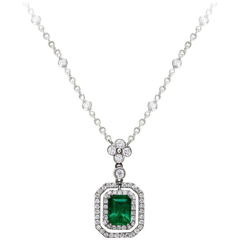 Green Emerald and Diamond Halo Drop Necklace